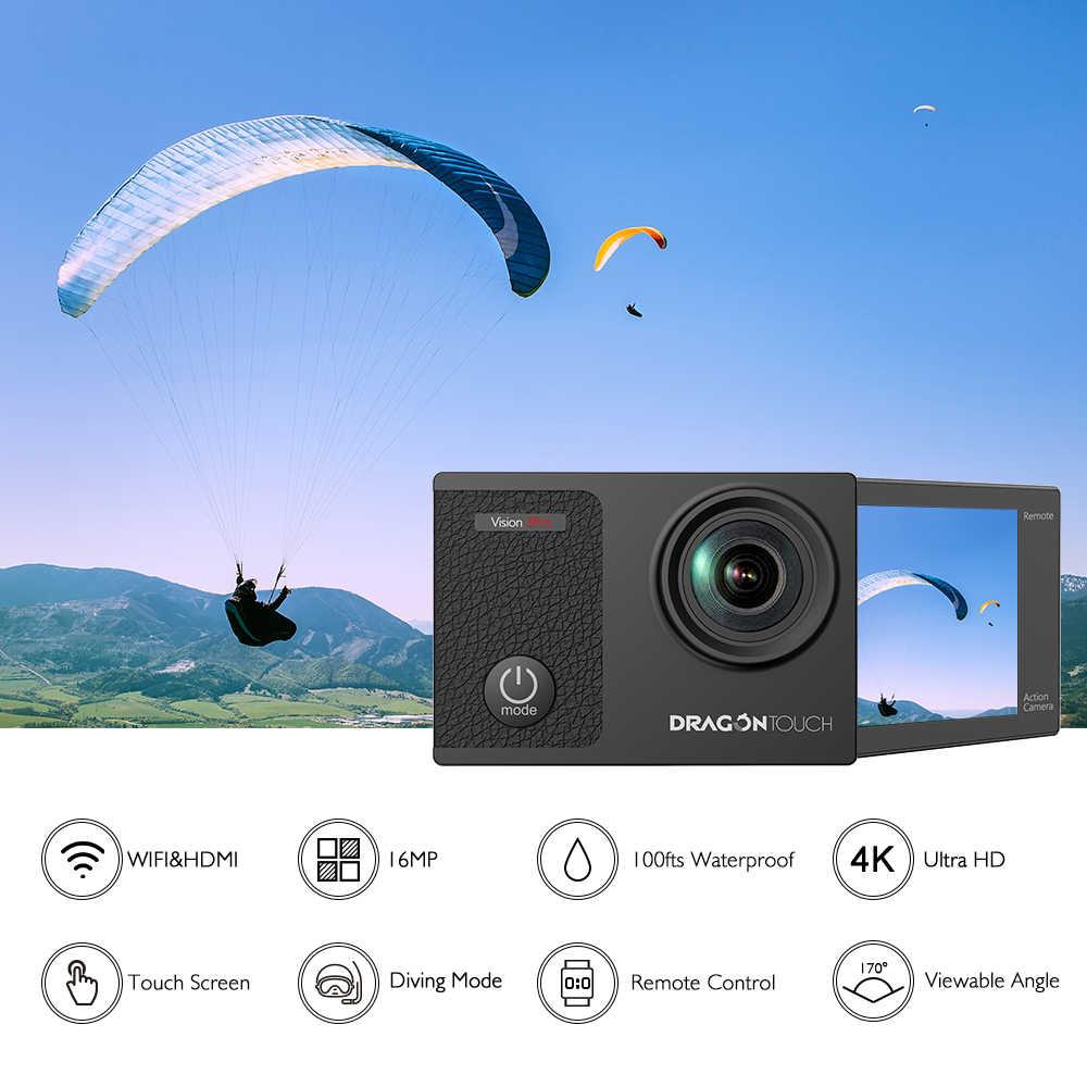 Dragon Touch 4 K Экшн-камера 16MP Vision 3 Pro wifi 100ft Водонепроницаемая камера с сенсорным экраном 170 ° широкоугольная Спортивная камера