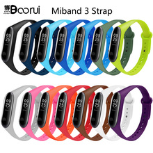BOORUI Pulsera Colorful Miband 3 Strap correa Silicone Miband 3 band replacement accessories wrist strap for xiaomi mi3 bracelet