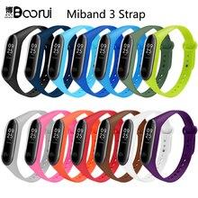 Boorui pulsera colorido miband 3 cinta correa silicone miband 3 banda acessórios de substituição pulseira de pulso para xiaomi mi3 pulseira