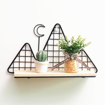 Simple Iron Grid Shelf Home Living Room Kitchen Wall Rack  Multifunctional crafts Decorative Shelves
