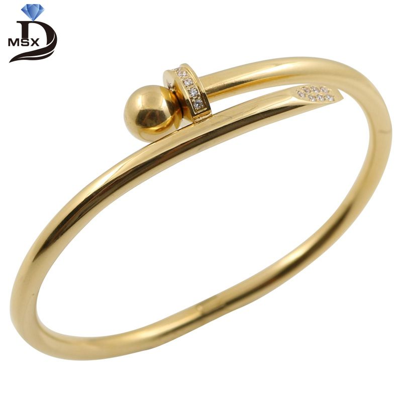 MSX 2017 Stainless Steel Gold Color Crystal Bracelets Luxury Brand Stylish Screws Bangle for Women Girl Decoration Jewelry stylish women s solid color pleated culotte