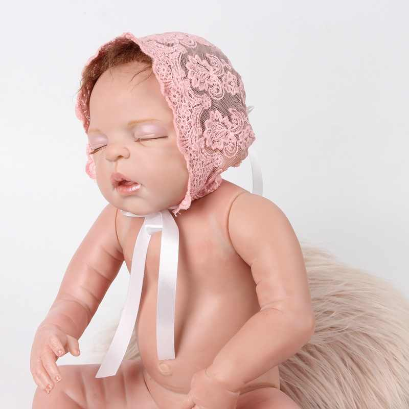 b6f4090daf2 ... Cheapest Lace Newborn Hats Baby Caps Beanie Infant Beret Flower Fetal  Hat Premature Bebe Balaclava Bucket ...