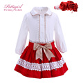Pettigirl Red Chritmas Girl Clothing Sets With  Hairbands Lace White Blouse And Skirts Bountique Girl Clothing G-DMCS908-891