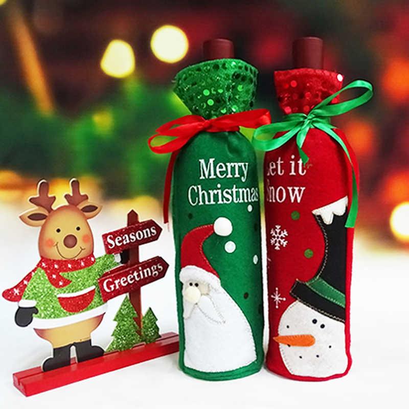 Рождественская бутылка вина Декор Набор Санта Клаус Снеговик Олень крышка бутылки одежда кухня украшение на новый год Рождество ужин вечеринка