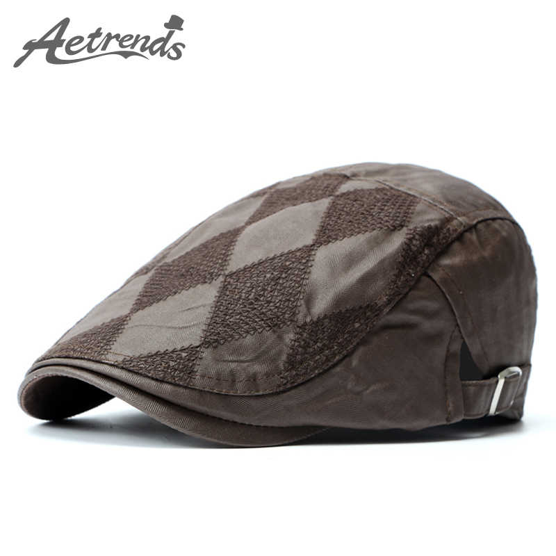 ac1e22b0 [AETRENDS] Autumn Spring PU Leather Beret Cap Vintage Berets Hats for Men  or Women