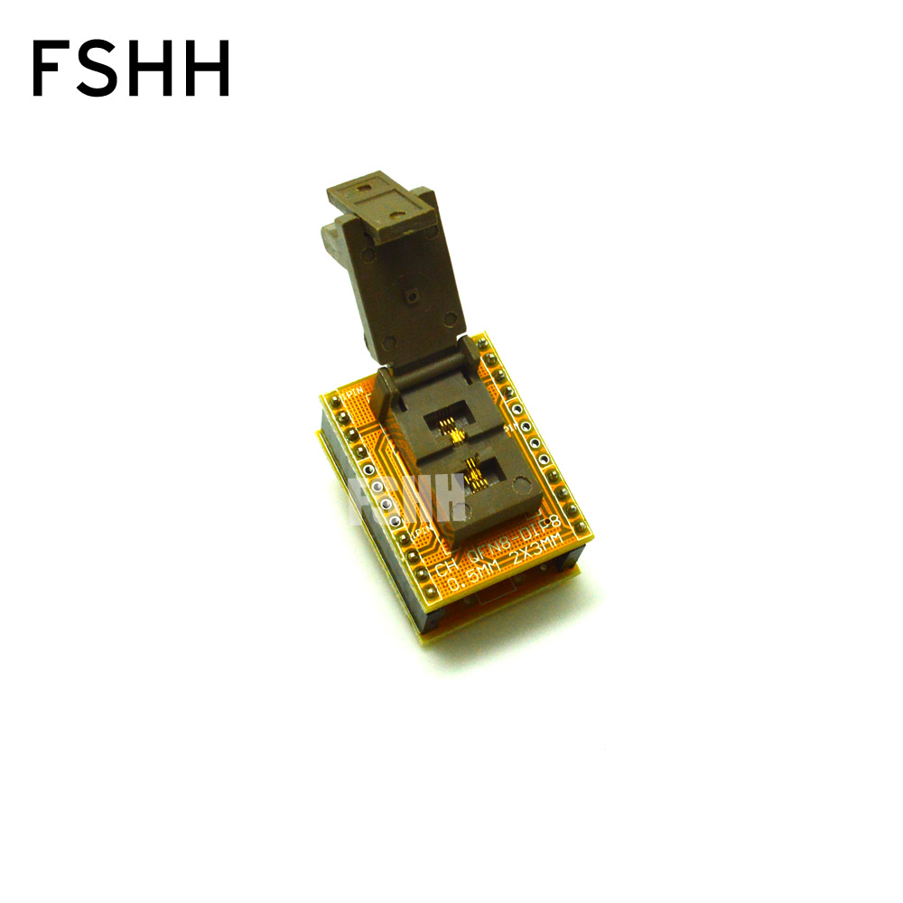 QFN8 to DIP8 Programmer Adapter DFN8 MLF8 WSON8 test socket Pitch=0.5mm Size=2mm X 3mm fshh qfn8 to dip8 programmer adapter wson8 dfn8 mlf8 test socket pitch 0 65mm size 2x2mm