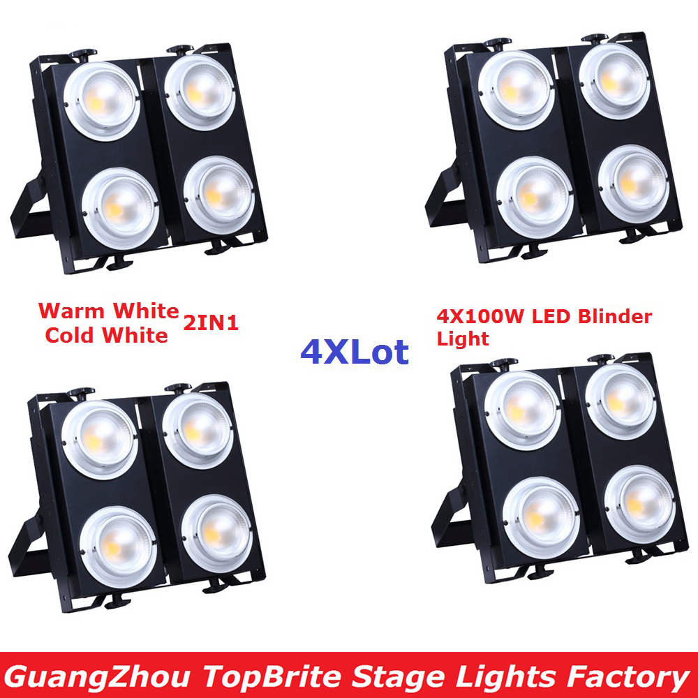 4Pcs/Lot LED Blinder Light High Quality 4X100W Warm White + Cold White 2IN1 Led Stage Audience Blinder Light For Stage Dj Shows blinder led cob 4x100w led blinder light 400w dmx512 2 channels cold warm white blinder stage effect lighting dj party led lamp