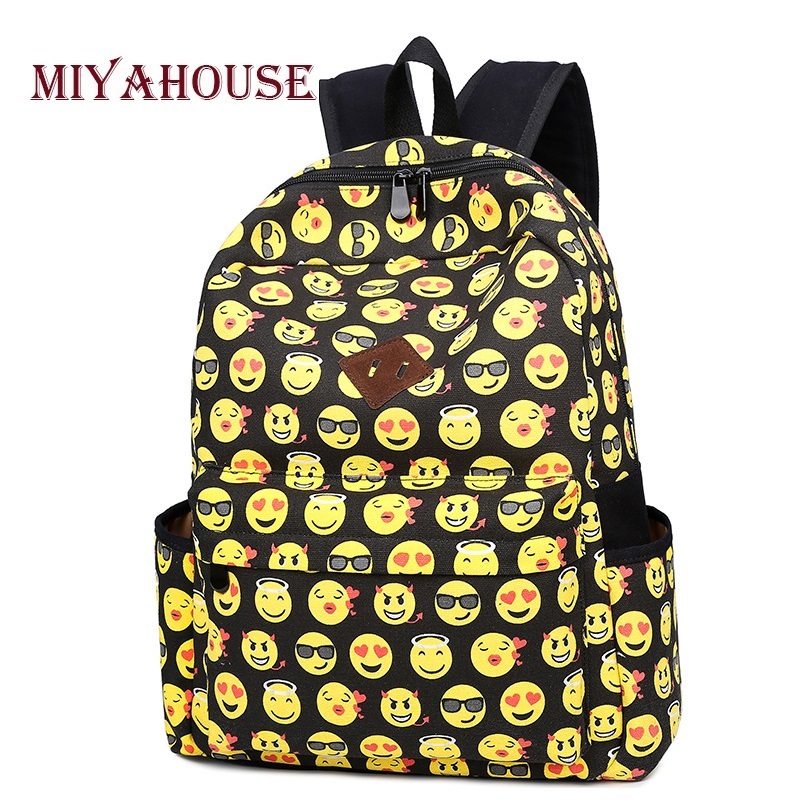 Miyahouse High Quality Emoji Design Backpack Female Canvas School Bag For Teenage Girls Smile Face Printed Backpack Women u pick fashion lovely smile face transparent tpu backpack