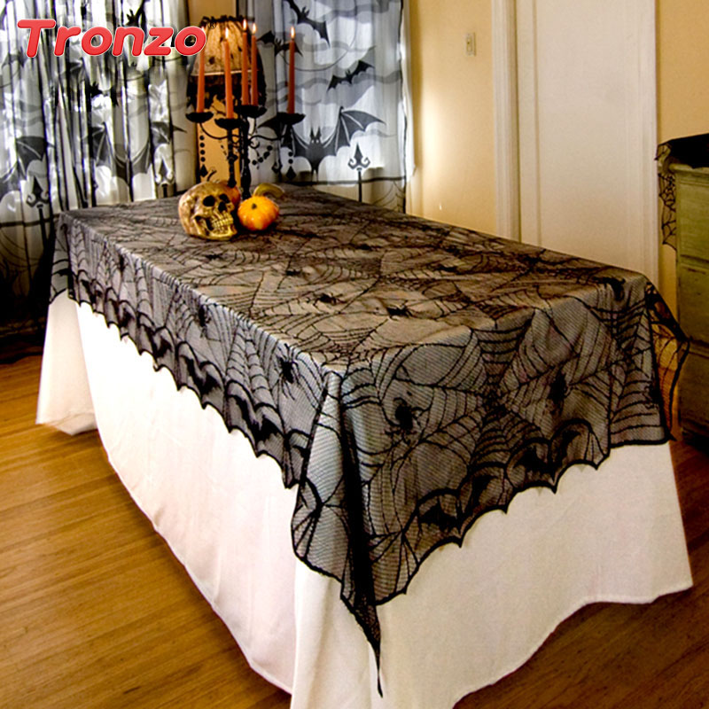Tronzo Halloween Party Decoration 244*122CM Lace Black Spider Web Halloween Decoration For Home Rectangle Tablecloth Cobweb