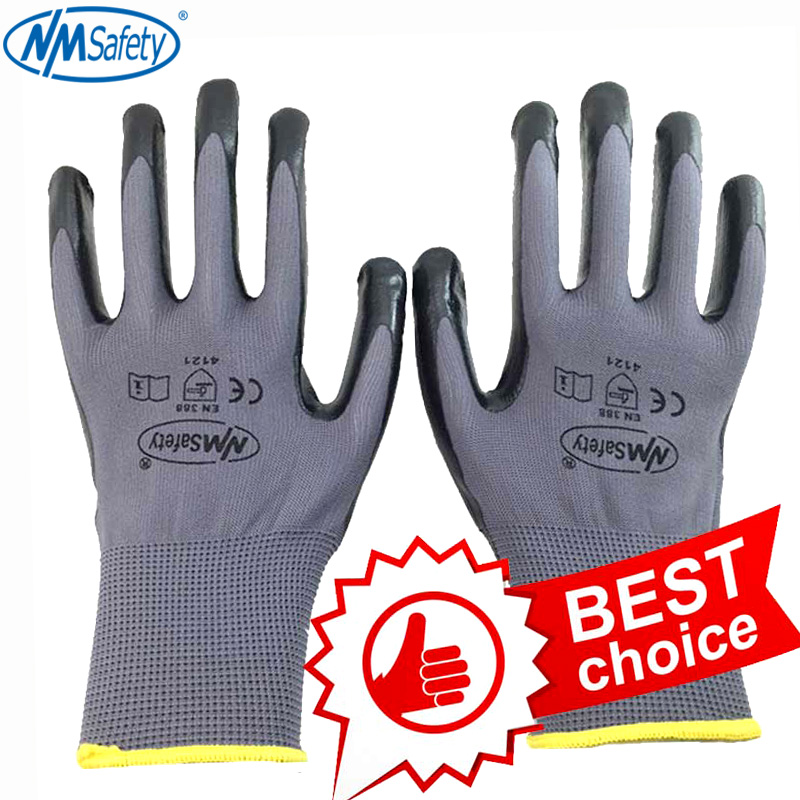 NMSafety Nitrile Work Gloves Nylon Liner Dipped Palm Car-Repair Assembly Safety Gloves Working