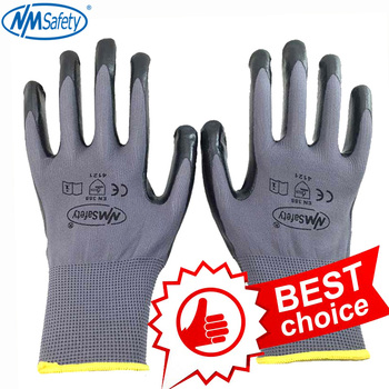 NMSafety Nitrile Work Gloves Nylon Liner Dipped Palm Car-Repair Assembly Safety Gloves Working nmsafety better grip ultra thin knit latex dip nylon red latex coated work gloves luvas