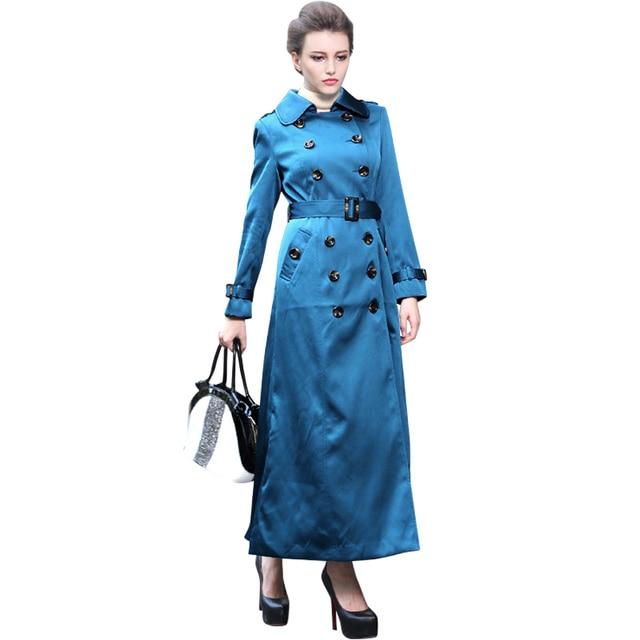 2016 Новый Повседневная Весна Британский Стиль Burderry Пальто Женщины Двойной Брестед Тонкий Cut Включите Ошейник С Длинным Макси Траншеи Сплошной Синий