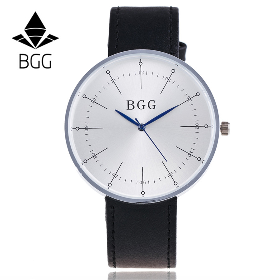 BGG Brand Fashion Men Wristwatch Leather Business Quartz Watches Classic Design Big Dial Watch Relogios Masculino Gift B07 men s fashion brand quartz watch big dial silicone watches male high quality business leisure sports gift wristwatch new hour
