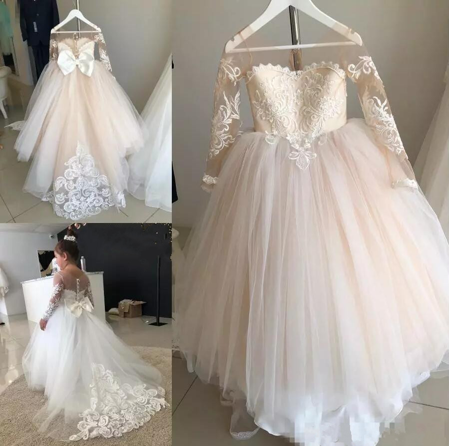 Real Picture Champagne Tulle 2019   Flower     Girls     Dresses   for Wedding Long Sleeves O Neck   Girls   First Communion   Dress   Birthday Gown