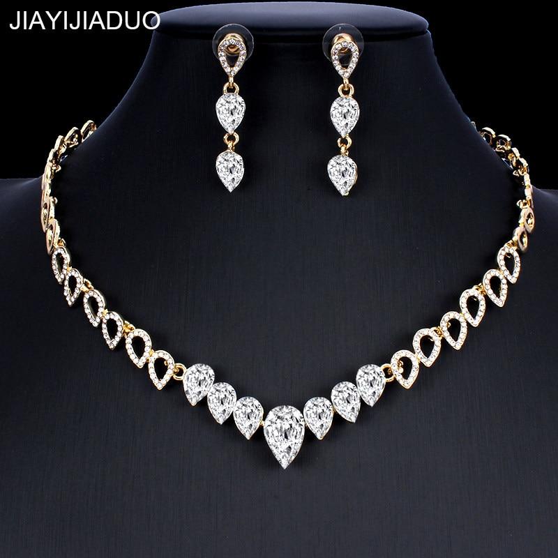 521d6e78b8 StoneFans Luxury Teardrop Necklaces Earrings Sets Charm Zircon ...