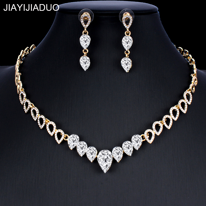 jiayijiaduo Crystal wedding jewelry set charm women's dress accessories small necklace earrings classic gift Gold color 2019 new