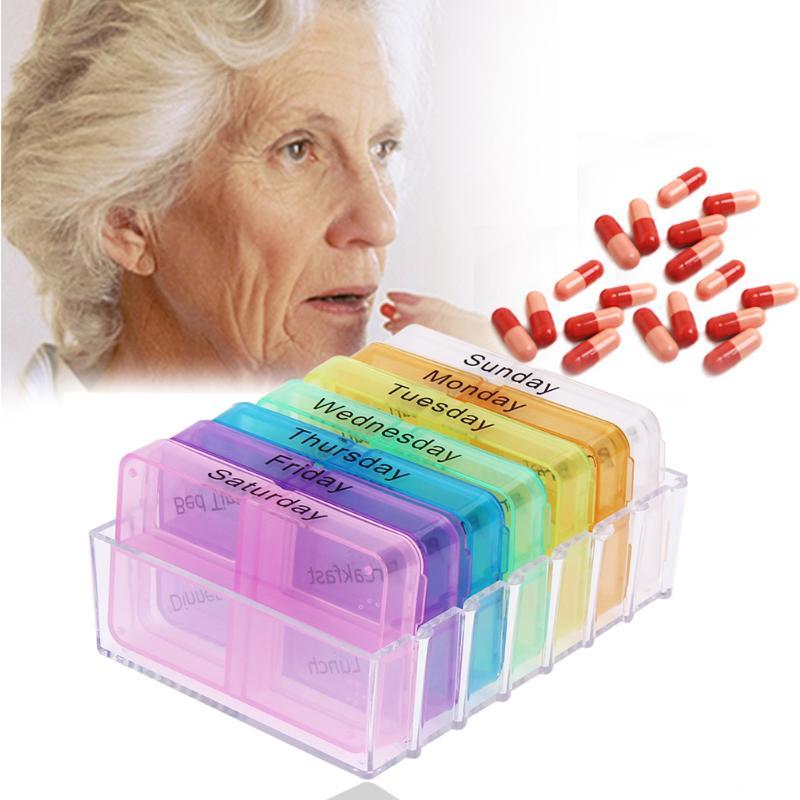 7 days portable travel pill medicine box organizer and pill box dispenser cutter cases