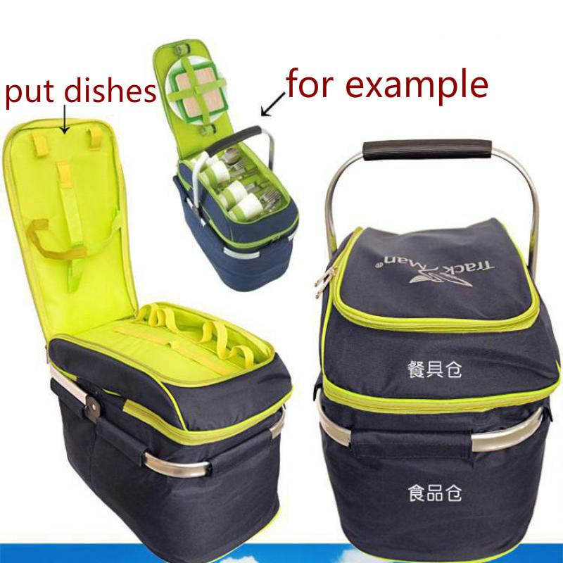 Trackman Camping Outdoor Picnic Basket Portable Folding Large Picnic Bag Basket Food Storage Bags Picnic Handbags