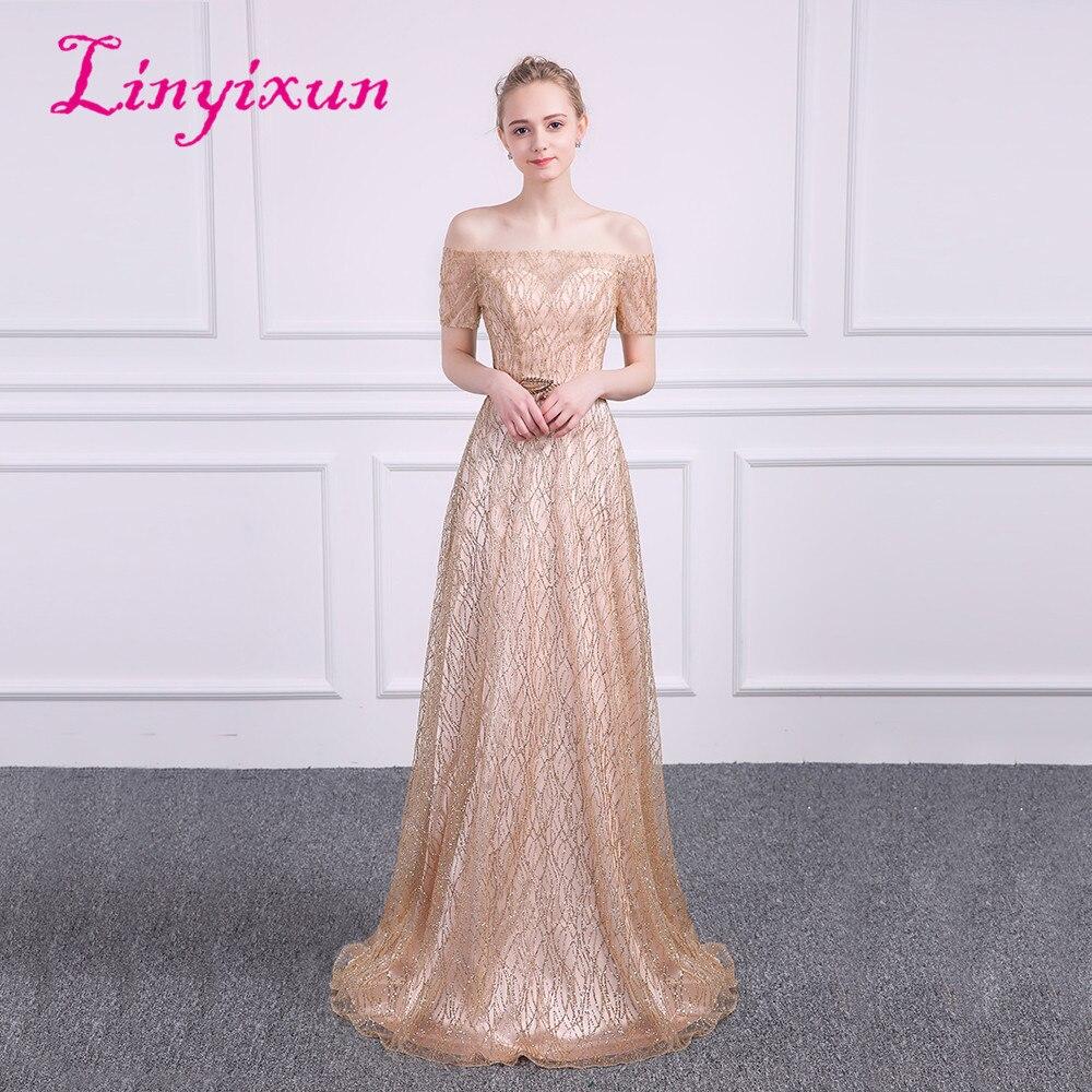 Linyixun Sexy Bling Bling une ligne robes de soirée avec des ceintures balayage Train longues robes de bal 2018 dorure vestido de festa personnalisé