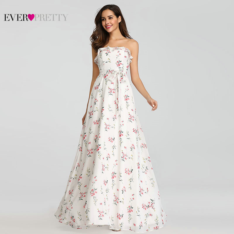 Ever Pretty Chiffon Bridesmaid Dresses Long Strapless Ruffles Floral Printed Floor Length Party Dress For Wedding Guest EP07242