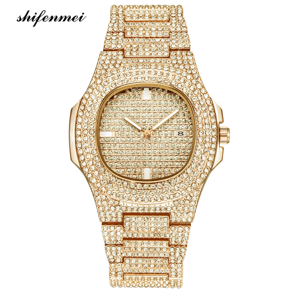 Mens Watches Fashion Diamond Automatic Date Quartz Watch Men Gold Stainless Steel Business Mens Watches Top Brand Luxury clock watch men fashion rhinestone quartz clock mens watches top brand luxury steel business waterproof watch luminous date week clock