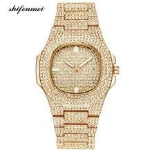 Для мужчин s часы мода алмаз Автоматическая Дата кварцевые часы для мужчин золото нержавеющая сталь бизнес для мужчин s часы лучший бренд…