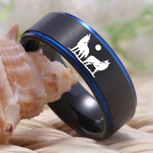 Image 2 - YGK Howling wolf Design Wolfram Ring männer Klassische Hochzeit Engagement Jahrestag Liebhaber der Ring Geschenk Ring Freies Gravur