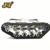 JMT Alloy Aluminum Car Chassis Smart Robot Big Tank Chassis with Motors for DIY Remote Control Robot Car Toys