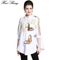 2017 New Fashion Women Blouses Elegant Transparent Sleeve Butterfly Floral Print Loose White Shirt XXL Plus