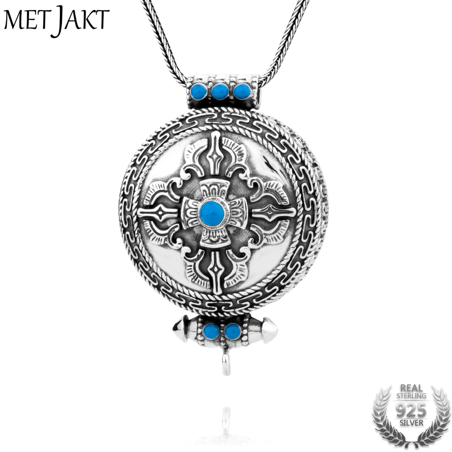 MetJakt Natural Turquoise Necklace Vintage 925 Sterling Silver Pendant and Snake Chain Men's Peace Pendant Religious Jewelry metjakt punk buddhism 925 sterling silver peace pendant necklace and snake chain unisex exorcise evil spirits jewelry