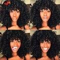 Новое Прибытие! 6 Девственницы Бразильские Волосы Свободный Локон Full Lace Wig человеческих Волос Парики С Челкой Glueless Фронта Шнурка Человеческих Волос парики