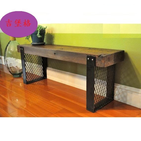 Retro Rustic Wood Furniture, Wrought Iron Benches Steel Chair To Do The Old  Wooden Bench