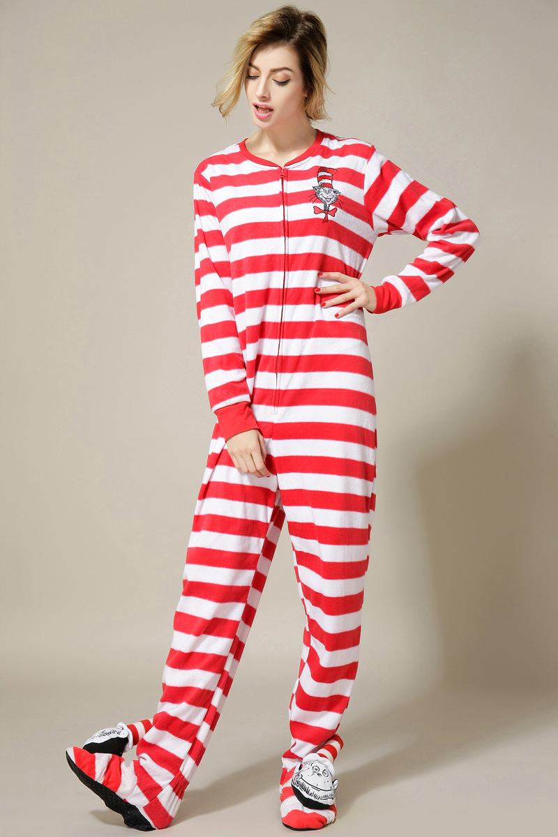 [wiki's store]Adult woman Euro Size and footed Pajamas fleece red Onesies Jumpsuit homewear