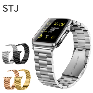Image 4 - STJ Correa de acero inoxidable para Apple Watch, Serie de gomillas 5/4/3/38mm 2/1 42mm, correa de Metal para iwatch Series 4 40mm 44mm