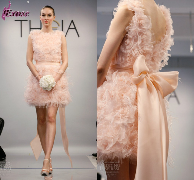 Spring 2014 New Collection Short Blush Wedding Dress With Organza Flowers And Ostrich Feathers LOU
