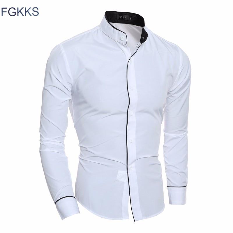 FGKKS جديد وصول قميص عارضة الرجال العلامة التجارية-ملابس الخريف أزياء قميص طويل الأكمام Tuexdo ذكر 3 ألوان الرجال القمصان شحن مجاني