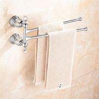 AUSWIND Antique Polished Sliver Brass Towel Rack 2 Arms Crystal Mounting Bathroom Accessories QW3