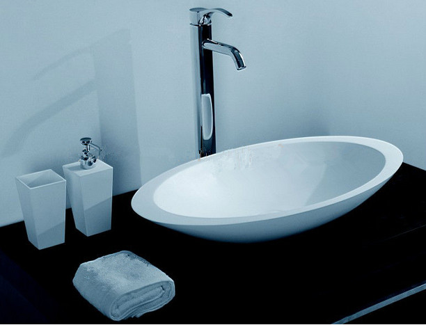 Bathroom Oval Basin Solid Surface Resin Counter Top Wash Basin Cloakroom  Vanity Vessel Sink 3857