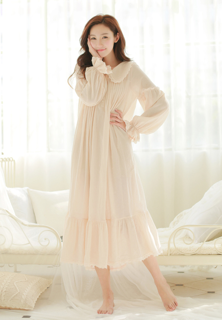 Free Shipping 100% Cotton Princess White Long Pyjamas Pink Nightgown  Women s Sleepwear Ladies pijamas femininos a1ac56683