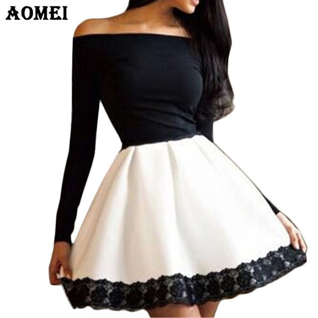 White and Black Patchwork Color Dress – AOMEI