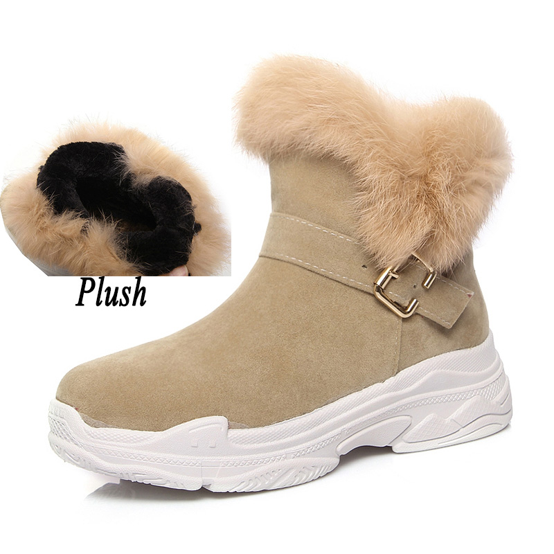 2018 Women Suede Rabbit Fur Winter Snow Boots Female Wedges Fashion Plush Warm Platform Felt Ankle Boots Fetish Booties UG Shoes gdgydh 2018 fashion new winter shoes platform warm fur snow boots women lacing round toe shoe female wedges ankle boots female