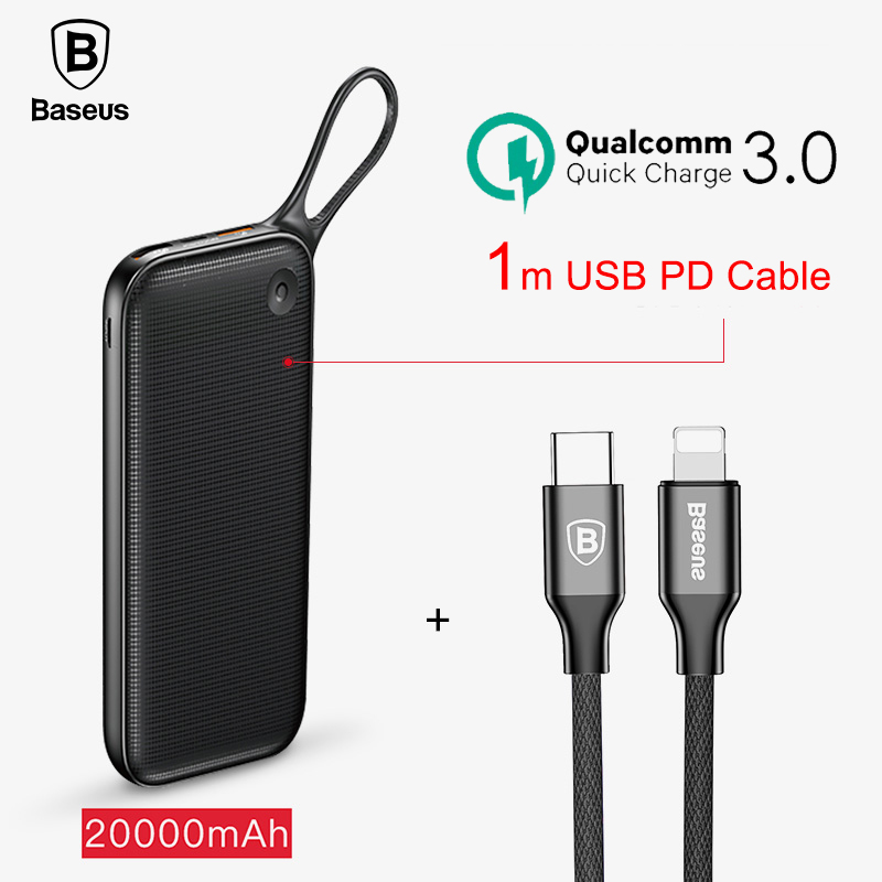 Baseus 18W 20000mAh Power Bank Dual Quick Charge 3.0 USB PD Outputs Powerbank Fast Charging QC3.0 External Battery Charger Set