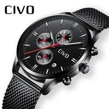 Чиво Для мужчин часы Водонепроницаемый Chronogra Аналоговый кварцевые наручные часы Бизнес Повседневное Для мужчин часы черный Нержавеющаясталь сетки часы