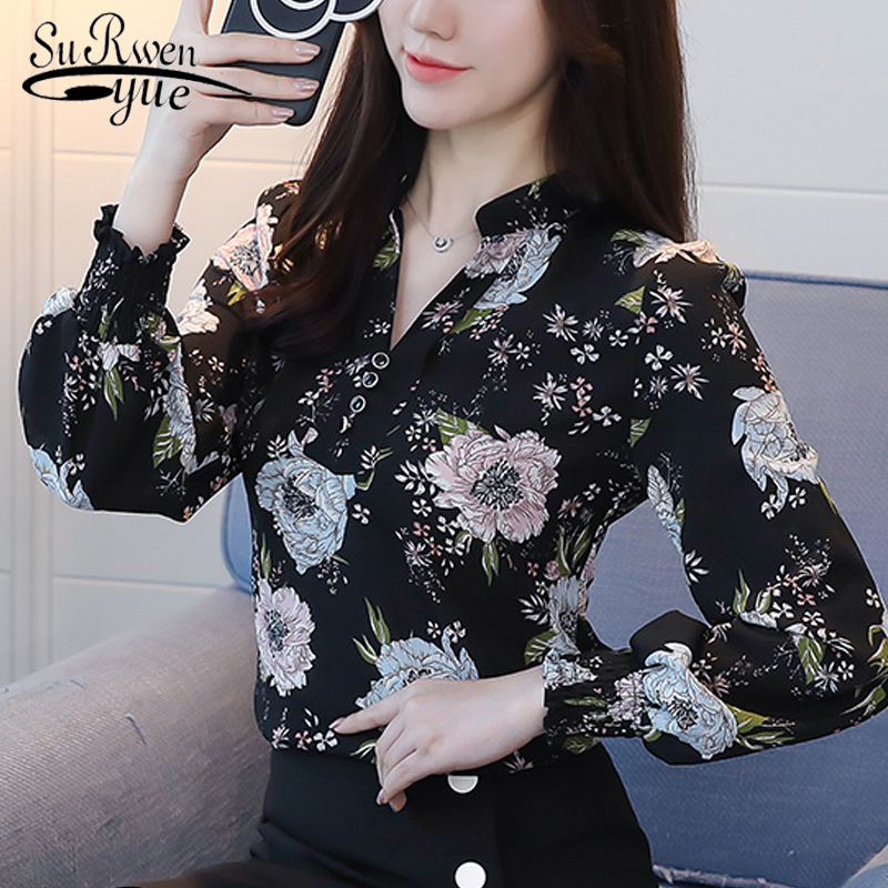 2019 fashion v-neck women   blouse     shirt   long sleeve printing women's clothing plus size OL   blouse   feminine tops blusas D556 30