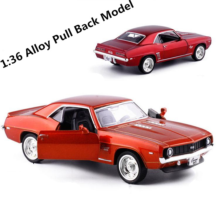 High Imitation Chevrolet 1969 Comaro Classic SS Car,1:36 Alloy Pull Back Retro Car Model,metal Castings,toy Vehicles,wholesale