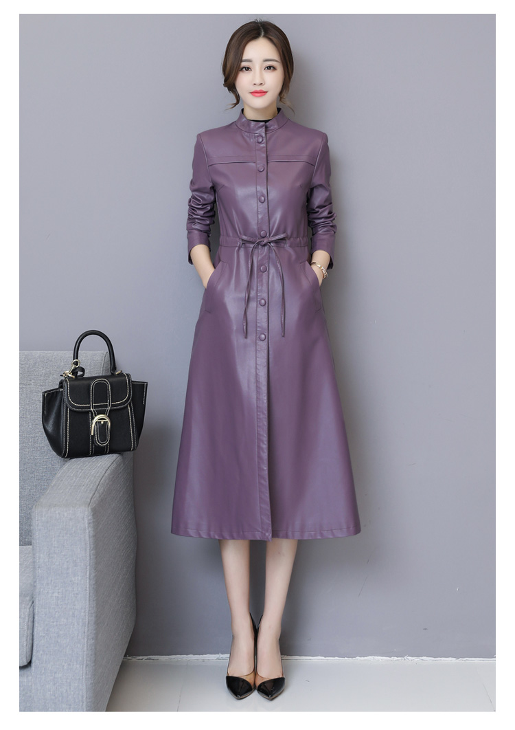 Excellent Quality PU Leather Long Design Trench Coat For Lady 2019 Autumn Slim Plus Size Women Clothing Breasted Coats Outwear