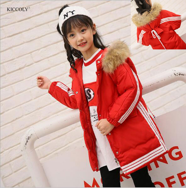 2017 Russia Winter New Long Padded Jacket Children Coat Kids Warm Thickening Hooded Down Parkas For Girl Teenage Outwear 5-10T цена