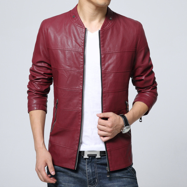 2017 New Fashion PU Leather Jacket Men Solid Mens Faux Fur Coats Trend Slim Fit Youth Motorcycle Suede Jacket Male M-3XL