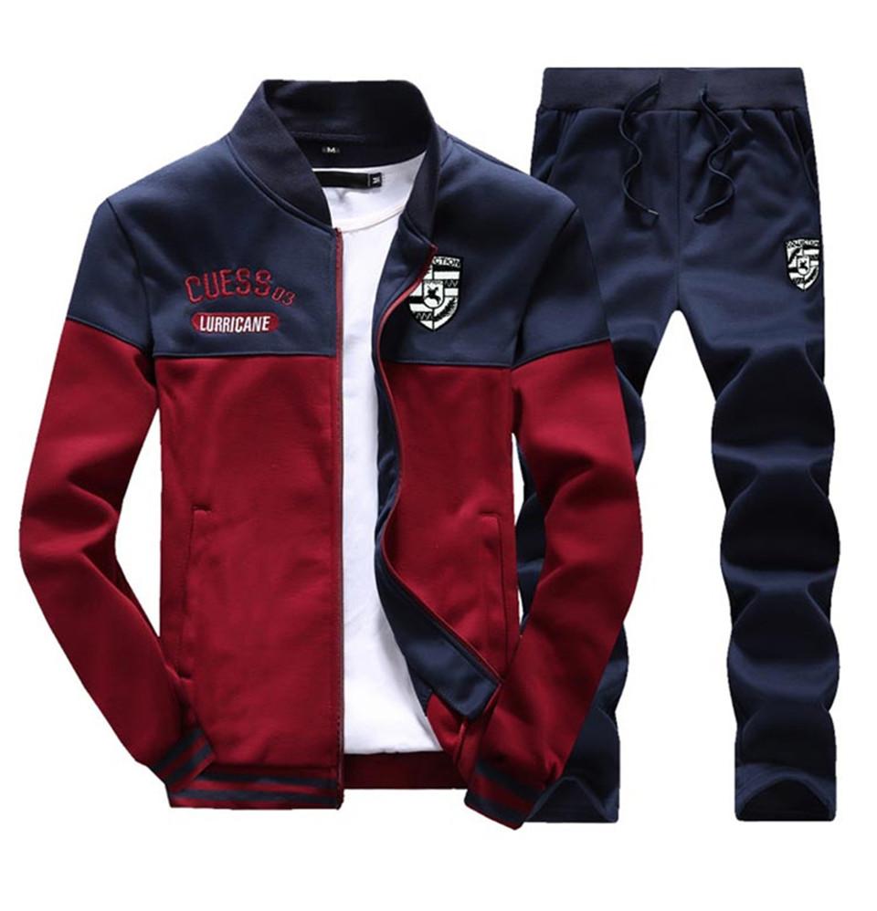 Riinr Brand New Men Sets Fashion Autumn Spring Sporting Suit Sweatshirt +Sweatpants Mens Clothing 2 Pieces Sets Slim Tracksuit 9