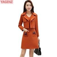 YAGENZ Women Gray Set New Autumn Winter Dress Fashion Temperament Women Clothing Slim High Quality Two